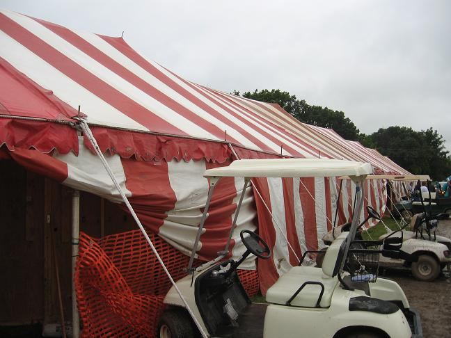 Tent and golf carts