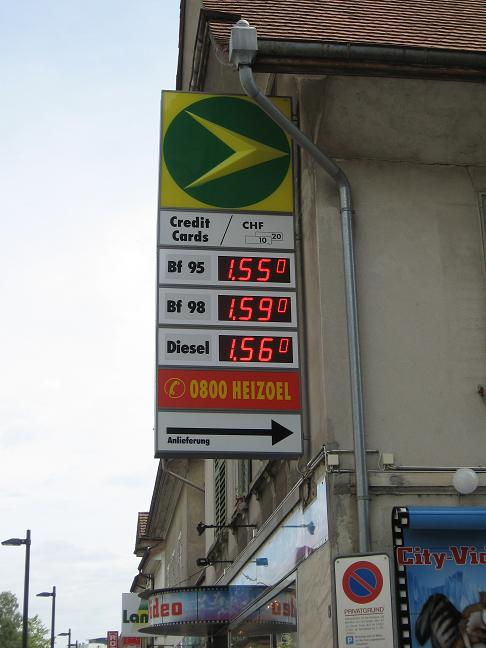Price of gas sign = 6USD per gallon