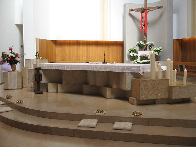 Inside of church - altar, Crucifix