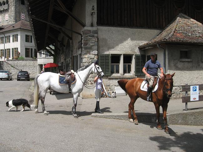 Restaurant parking lot on hill in Uster--people getting ready to ride their horses.