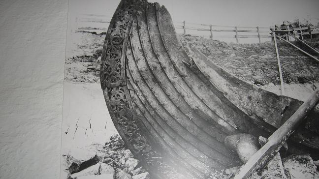 Viking Ship Museum - large photo of burial ship found on shore of eastern Norway